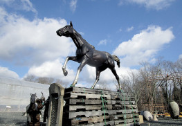 This style of horse statuary is to be placed at the Colts Neck roundabout at the intersection of Dutch Lane, Crine Road, and Heulitt Road. The statue is in storage at Brock Farms Home and Garden World, Colts Neck. Photo: Joseph Sapia