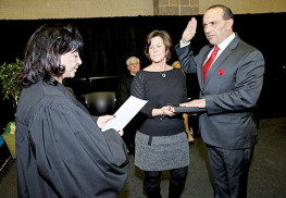 2016 Freeholder Director Thomas A. Arnone is administered the director's oath of office by Superior Court Judge Patricia Del Bueno Cleary at Monmouth County's 2016 Organization Day on Jan. 6, at Biotechnology High School in Freehold Township. Arnone previously served as freeholder director in 2013. Photo courtesy Monmouth County