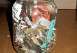 A jar containing plastics found during the study of the New York-New Jersey Harbor Estuary. Photo: Joseph Sapia