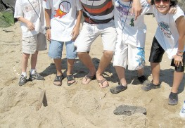 Campers at the New Jersey Sea Grant Consortium display the finds of the beach scavenger hunt.
