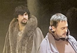 Anthony Younes, left, as King Henry II and Eric Rolland as Thomas Becket.