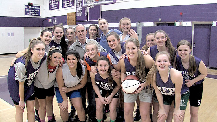 Head coach George Sourlis with his final RFH team that went 22-7 in 2015-16. Photos by Rich Chrampanis