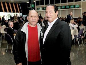 Hall Of Fame jockey Jorge Velasquez and thoroughbred owner Richard Malouf, right, at the Monmouth Park Opening Day press conference and luncheon at Monmouth Park Racetrack. Photo By Bill Denver/EQUI-PHOTO.