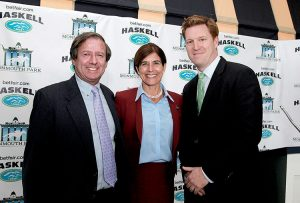 Dennis Drazin, advisor to the New Jersey Thoroughbred Horsemens Association and Darby Development, the operator of Monmouth Park, (L) with State Senator Jennifer Beck (C) and Kip Levin, CEO of Betfair US discuss the introduction of Exchange Wagering in the Garden State, at the Monmouth Park Opening Day 2016 Press Conference and Luncheon at Monmouth Park Racetrack in Oceanport, New Jersey on Tuesday May 10, 2016. Photo By Bill Denver/EQUI-PHOTO.