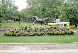 A bronze horse to symbolize Colts Neck's ties to the equine industry has been erected as the focal point of a new roundabout in Colts Neck. Photo: Joseph Sapia