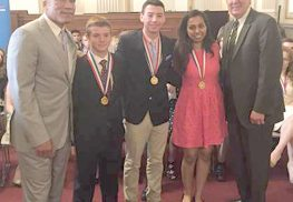Richard Stelfox and Trevor Somers, both of Monmouth Beach, were among the three recipients of Congressional Award Gold Medals. Congressman Frank Pallone presented the awards on June 16 on Capitol Hill. Pictured from left to right: Paxton K. Baker, chairman of the Congressional Award, Stelfox, Somers, Nishi Shah of Edison and Congressman Pallone.  Photo courtesy of Congressman Frank Pallone