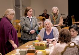 Barbara Andres as Mama (center, at head of table) with, from left to right: Heather Mac Rae as Nels, Dale Soules as Papa, Rita Gardner as Aunt Trina, and Mia Katigbak as Katrin. (With back to camera: Louise Sorel as Christine.)