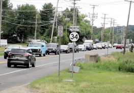 Looking north on Route 34 in Colts Neck, traffic backs up as it approaches the road's intersection with Route 37. A project is to improved congestion at the intersection.