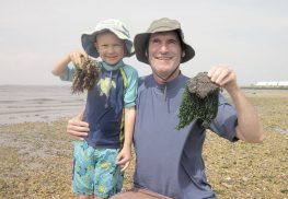 Dery Martin holding a clam with seaweed with his father, Joe Martin, who found a rock with seaweed.