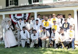 Members of the Monmouth Furnace Base Ball Club and the Chesapeake Nine gathered at the Parker Homestead prior to play baseball the way the way they played it in 1864. Photo by Ottie Lynne Paterson