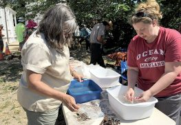 Nicky Kelly, left, and Samantha Muller, right, carefully wash artifacts with toothbrushes