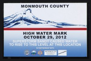 The new Super Storm Sandy high-water mark signs to be displayed in tidal water communities.