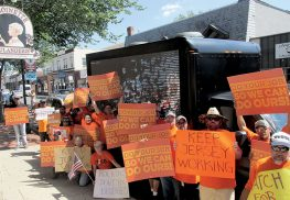 LIUNA members gather outside Sen. Jennifer Beck's office on Monmouth Street on Tuesday afternoon.