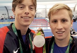 Fair Haven's Conor Jaeger (left) holds his silver medal with USA swimming teammate Jordan Wilmovsky in Rio. Jaeger's second place finish in the 1500 meter freestyle set an American record at the event.