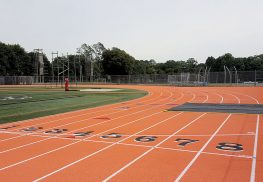 Middletown High School North recently resurfaced its track in vibrant orange to match the school colors.