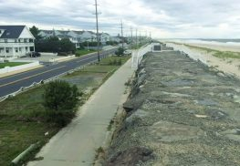 Ocean Avenue in Sea Bright, looking north toward Sandy Hook. The tracks of the Long Branch and Sea Shore Railroad were between Ocean Avenue and the seawall. Today, the site is occupied by private parking spaces and a running/biking path.