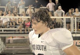 Maxx Imsho on the sidelines after his defensive touchdown against Red Bank Catholic. Photo: Rich Chrampanis
