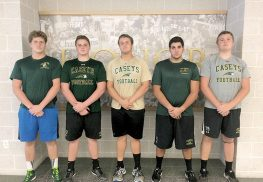 The Red Bank Catholic offensive line led the Casey's to a 30-27 victory over Middletown North on September 16, paving the way for nearly 300 rushing yards. Shown L to R: Colin O'Hara (RT); Richie Christie (RG) ; Michael Griggs (C); Alex Sargiss (LG); Conor Smith (LT).