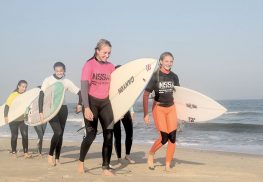 Members of the newly formed Rumson-Fair Haven Regional High School surf team enjoy practice and competition on local beaches.