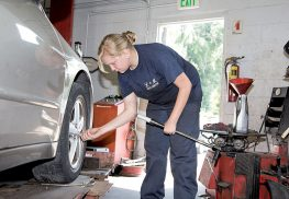 Elizabeth Kruse is learning how to repair automobiles at L&M Auto Center in Lincroft. Her internship is through Brookdale Community College, where she is a student in the Auto Tech program.