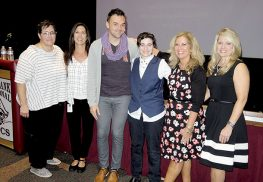 Pictured from left at the RBR Week of Respect presentation on gender identity are RFH teacher and Make it Better for Youth co-founder Kate Okeson, RBR Source Clinical Supervisor, Stacy Liss, Sam Killermann, RBR GSA President Skylar (Kyle) Eber, RBR Principal Risa Clay, RBR Source Director Suzanne Keller.