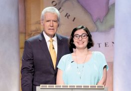 Emily LaMonica, now a freshman at Ramapo College in Mahwah, met Alex Trebek when she competed in the Jeopardy! Teen Tournament, which filmed in April and airs this week and next on ABC.