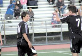 Rumson-Fair Haven's Mitch Lauria scored two goals off the bench in RFH's 3-0 win at Holmdel. Photo by Jay Cook