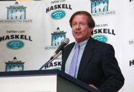 Dennis Drazin, advisor to the New Jersey Thoroughbred Horsemens Association and Darby Development, the operator of Monmouth Park, speaks at the Monmouth Park Opening Day 2016 Press Conference on May 10, 2016.Thoroughbred Horsemens Association and Darby Development, the operator of Monmouth Park, speaks at the Monmouth Park Opening Day 2016 Press Conference and Luncheon at Monmouth Park Racetrack in Oceanport, New Jersey on Tuesday May 10, 2016. EQUI-PHOTO/FILE.
