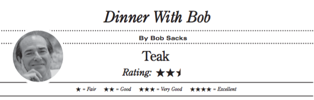 Teak Restaurant, Red Bank. Star rating: two and one-half