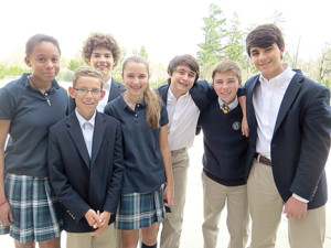 Rumson Country Day School student volunteers are organizing a Students Rock Out for Sandy Ground benefit concert on April 27. From left: Shelby Ragin, Anderson Guadagno, Elias Economou, Sally Thomas, Cash Woldseth, Paul Thomas and Max Kyrillos. (Not pictured: Brendan Greene, Jesse Wallace and Ford Zacks.) -- Courtesy Rumson Country Day School