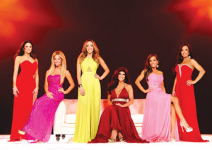 """The cast of this season's """"The Real Housewives of New Jersey"""" are, from left, Amber Marchese, Dina Manzo, Melissa Gorga, Teresa Guidice, and the twins from Colts Neck, Nicole Napolitano and Teresa Aprea. Photo: Courtesy Bravo"""