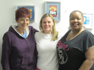 Shore House Executive Director heather Brown, center, is joined by Shore House members Lucille DeNucci, left, and Sharone Rogers at the organization's new home at 270 Broadway, Long Branch. Photo by John Burton