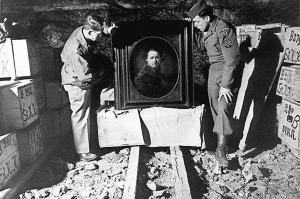"""Harry Ettlinger, one of those depicted in the movie, """"The Monuments Men,"""" will be speaking Nov. 23 at Congregation B'Nai Israel in Rumson. He is pictured on the right with a Rembrandt self-portrait that he helped rescue."""