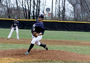 Middletown South starting pitcher Zac deRocco (3) tossed a two-hit shutout and struck out six batters to give the Eagles their first win of the season. Photo by Sean Simmons