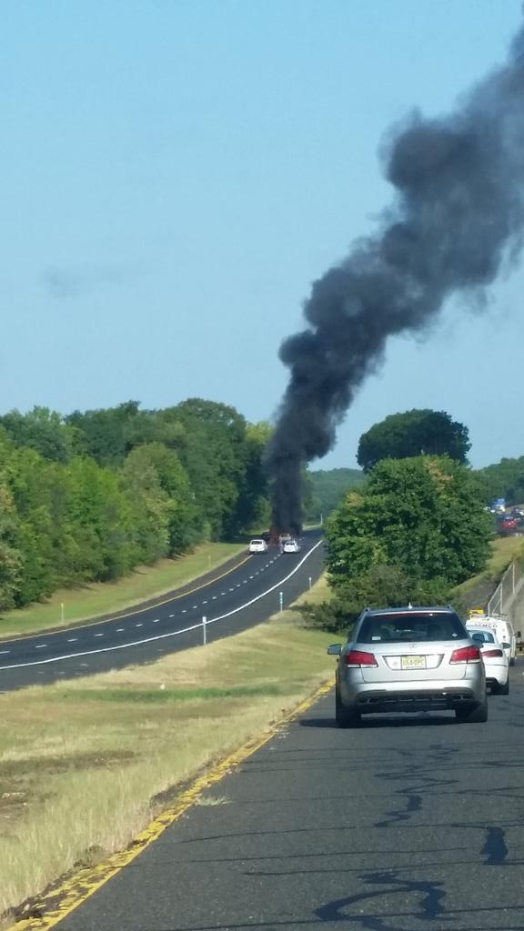 A car fire on Sept. 8, on the Garden State Parkway Express lanes. Photo contributed by Cori Egan.