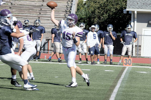 RFH quarterback Michael O'Connor throws a pass during a scrimmage against Middletown South at Two River Times Field at Borden Stadium. Photo: Sean Simmons