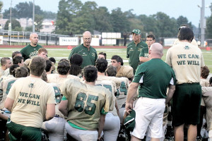 Red Bank Catholic head coach Jim Portela talks to his players during halftime of their scrimmage against St. Joseph of Hammonton. Photo: Sean Simmons