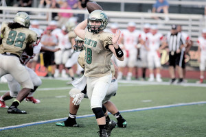RBC's Thomas Lang (18) gets ready to throw a pass during a scrimmage against St. Joseph of Hammonton. Photo: Sean Simmons