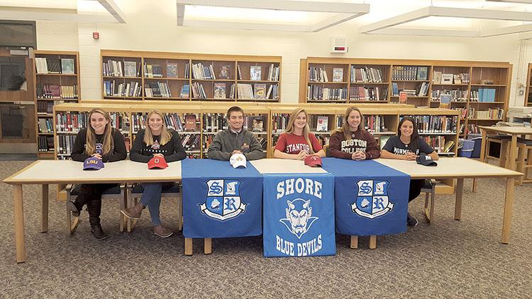 (Left to right) Helen Grossman (Swimming-Louisiana State University); Sarah George (Girls Lacrosse-Ohio State); Doug Goldsmith (Boys Lacrosse-Albany); Jessica Welch (Field Hockey- Stanford);Sarah Dwyer (Field Hockey-Boston College); Annie Deusch (Field Hockey-Monmouth University)
