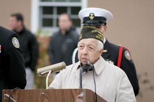 World War II veteran Tony Bucco spoke to NJROTC students at MAST on Veterans Day. Courtesy Kathy Jeys