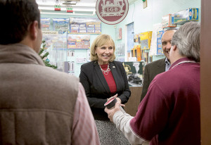 NJ Lieutenant Governor Kim Guadagno on a tour of local businesses in Red Bank during Small Business Saturday, Nov. 28. Photo: Tina Colella