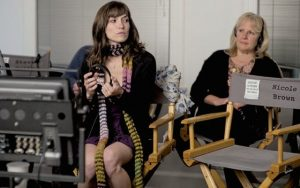 """Lorene Scafaria and her mom Gail on the set of """"The Meddler."""""""