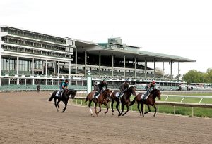 Thoroughbreds from the Eddie Plesa, Jr. Stable gallop on the track at Monmouth Park in Oceanport, New Jersey on Tuesday morning May 10, 2016 as the Jersey Shore track prepares to start it's 71st season of racing this Saturday May 14, 2016. Photo By Bill Denver/EQUI-PHOTO