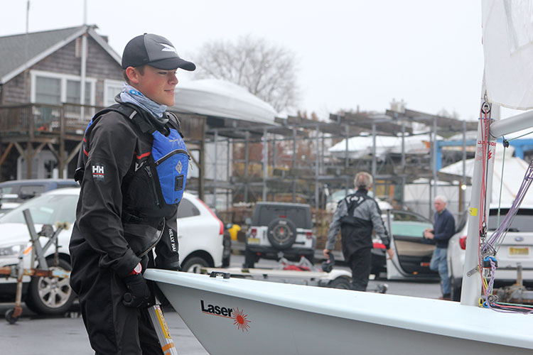Patrick Modin, 17, has been excelling in the Monmouth Boat Club's Frostbite races this season when sailors take on the sometimes frigid waters of the Navesink River November through March.