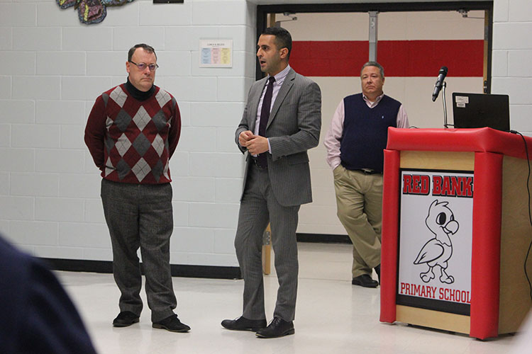 Red Bank River Center executive director Jim Scavone, left, borough administrator Ziad Shehady, and Brian Bartholomew of Walker Consultants addressed the audience at the special meeting