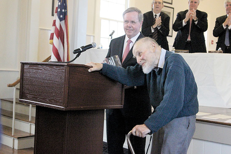 Mayor Joseph Hemphill awarded Arthur Ashkin a Rumson Vase during the Jan. 1 reorganization meeting in recognition of the borough resident's Nobel Prize for physics, an honor he received in October.