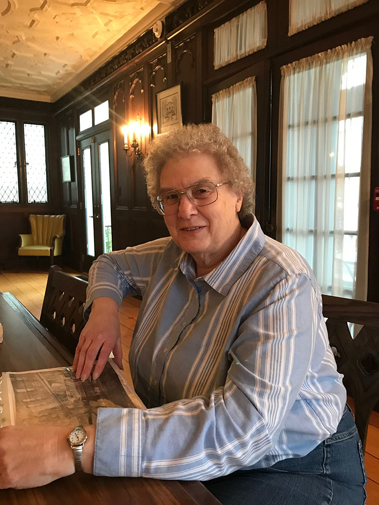 Red Bank Public Library volunteer and history walking tour guide Kathy Lou Colmorgen.  Photo by Eileen Moon