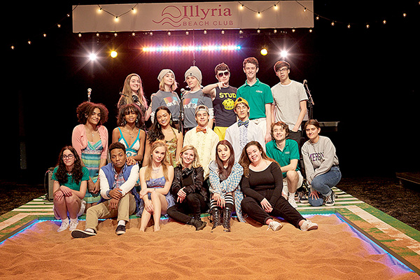 Cast and crew posed on stage at Two River Theater.
